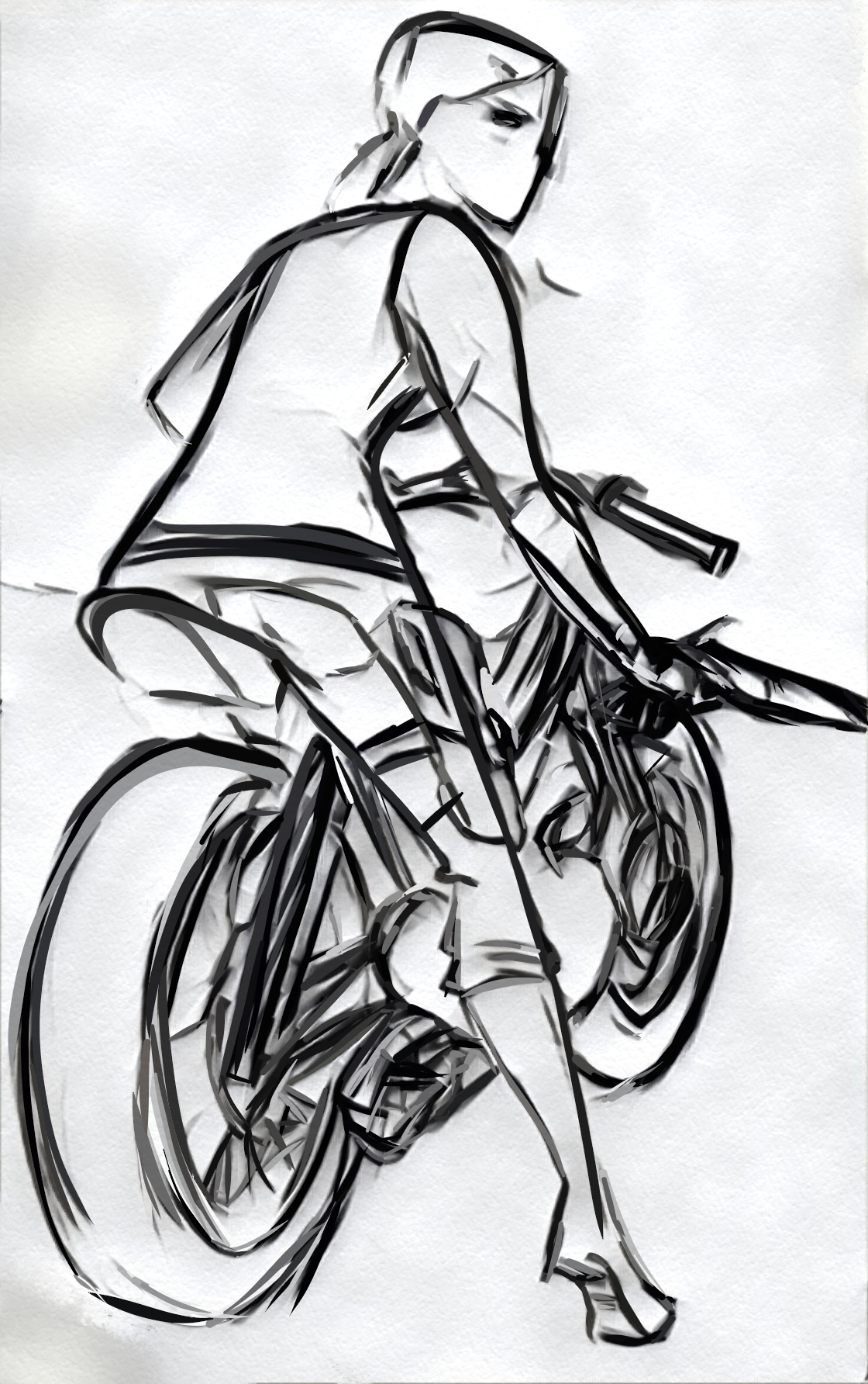 image of sketch biker woman